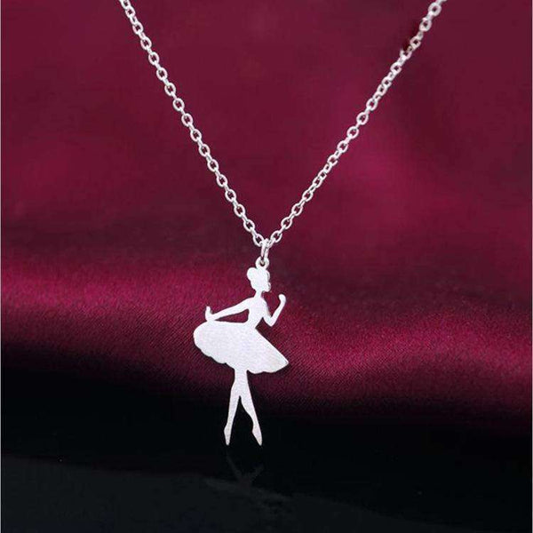 925 Silver Sweet Princess Ballet Dancer Pendant Necklace - necklace - LoxLux Jewelry