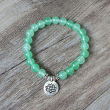 8 MM Light Green Stone Buddhism Chakra Buddha OM Lotus Bracelet - BRACELET - LoxLux Jewelry