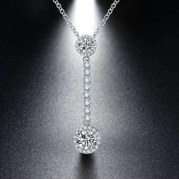 Cubic Zirconia AAA Shiny 925 Sterling Silver Drop Necklace - necklace - LoxLux Jewelry