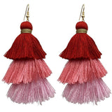 Boho Style Multilayer Cotton Thread Tassel Earrings - Earrings - LoxLux Jewelry