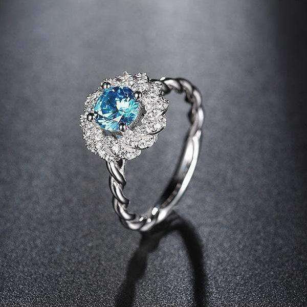 Blue Zircon Cubic Zirconia 1.2ct Blue Micro Pave Flower Ring - Ring - LoxLux Jewelry