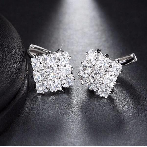 Cubic Zirconia Elegant Square Stud Earrings - Earrings - LoxLux Jewelry