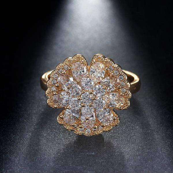 Cubic Zirconia AAA Zircon CZ Flower Ring - Ring - LoxLux Jewelry