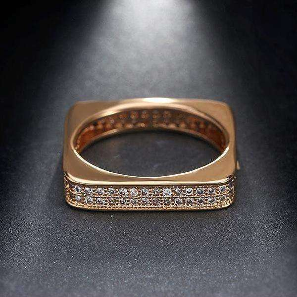 Cubic Zirconia Gold Color Romantic Geometric Stackable Ring - Ring - LoxLux Jewelry
