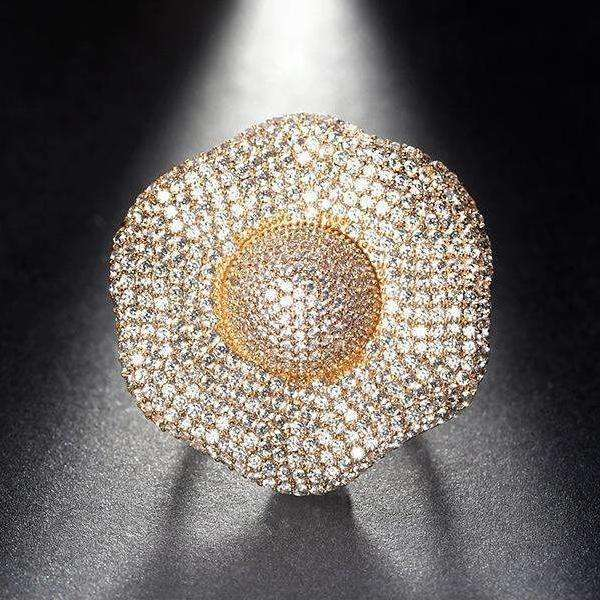 Cubic Zirconia Luxury Gold Color Cubic Zircon Prong Big Flower Ring - Ring - LoxLux Jewelry