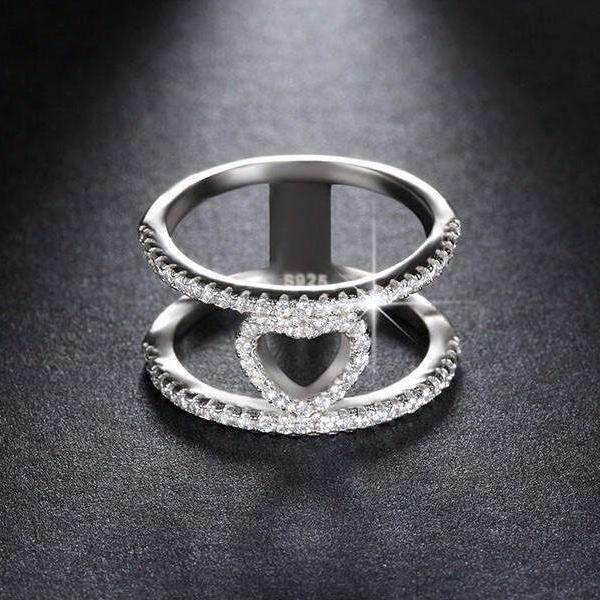 Cubic Zirconia 68pcs Silver Color Heart Ring - Ring - LoxLux Jewelry