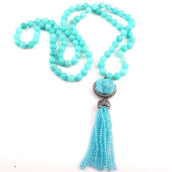 Boho Long Knotted Stone, Druzy & Tassel Necklace - necklace - LoxLux Jewelry