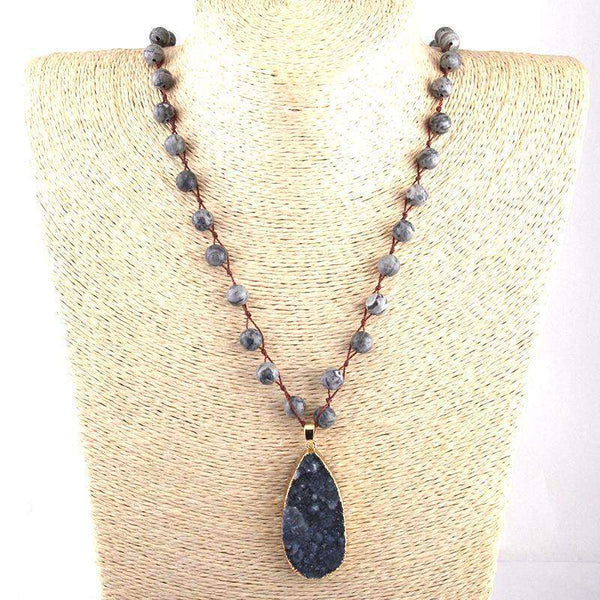Boho Tribal Natural Semi Precious Druzy Stone Pendant Necklace - necklace - LoxLux Jewelry