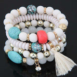 4Pcs/Set Handmade Colorful Beads Tassel Charm Bracelet - BRACELET - LoxLux Jewelry