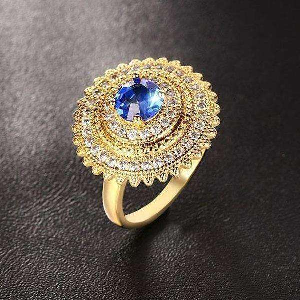 Cubic Zirconia Blue / Green / Red Zircon Gold Cocktail Ring - Ring - LoxLux Jewelry