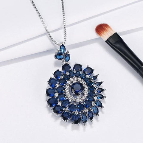 AAA Blue Cubic Zircon Crystal Pendant Long Chain Necklace - necklace - LoxLux Jewelry