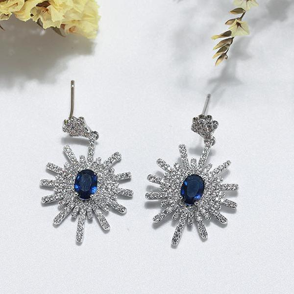 AAA Blue Cubic Zircon Unique Design Drop Earrings - Earrings - LoxLux Jewelry