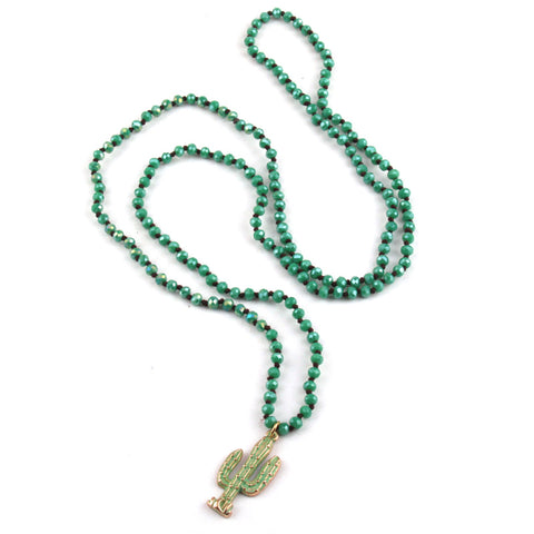 Mini Green Crystal Glass Knotted Green Epoxy Cactus Charm Pendant Necklace