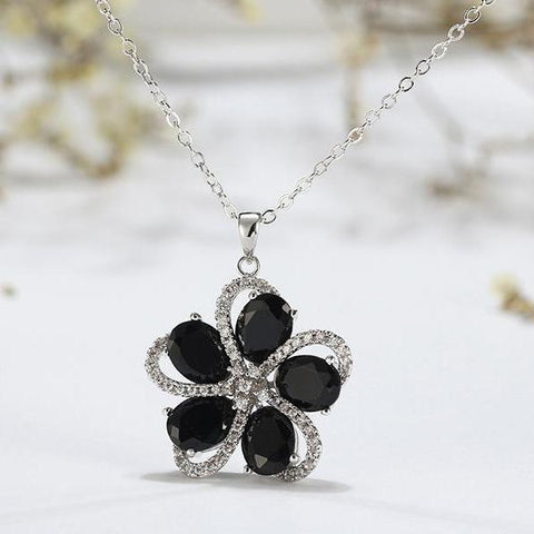 Top-Grade Black AAA CZ Flower Pendant Chain Necklace