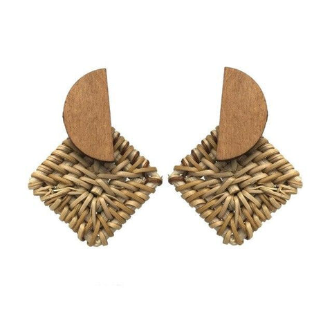Handmade Wood Straw Woven Stud Earrings - Earrings - LoxLux Jewelry