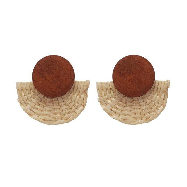 Handmade Wooden Fan Straw Weave Rattan Stud Earrings - Earrings - LoxLux Jewelry