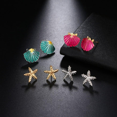 Multicolored Starfish Shell Summer Beach Stud Earrings Set