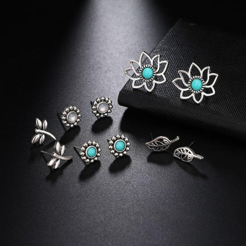 Green Resin Opal Hollow Lotus Charm Stud Earring Set - Earrings - LoxLux Jewelry