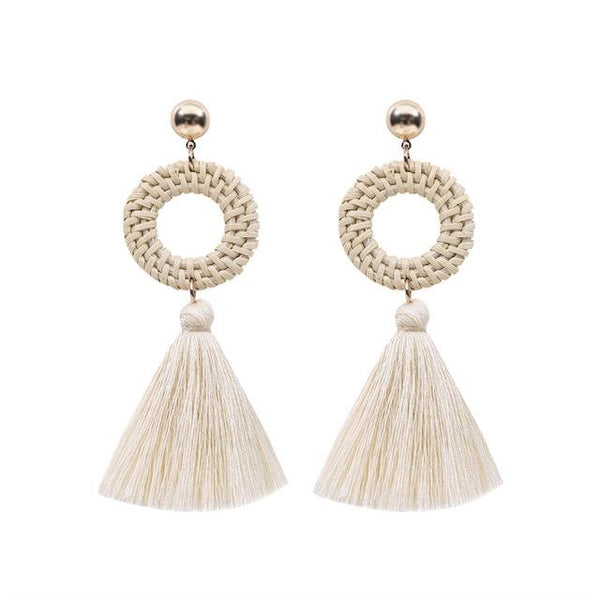 Circular Straw Rattan Knit Tassel Long Dangle Earrings - Earrings - LoxLux Jewelry