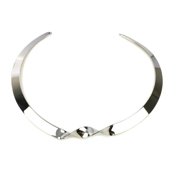 Gold And Silver Twist Punk Collar Choker Necklace - necklace - LoxLux Jewelry