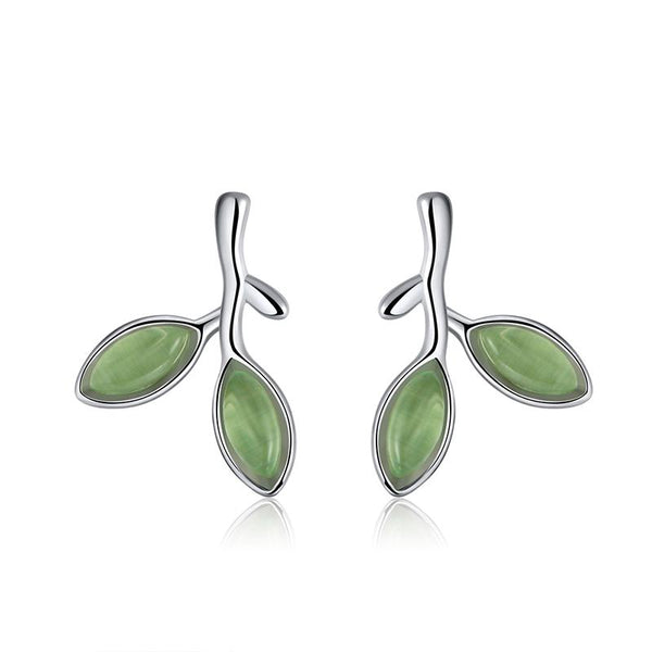 Leaf Pattern 925 Sterling Silver Cat's Eye Stone Ring And Earrings