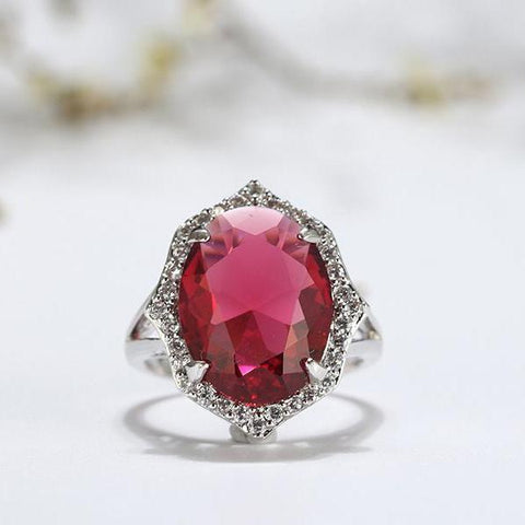 Big Red Oval Crystal AAA Shiny Cubic Zircon Prong Setting Ring - Ring - LoxLux Jewelry