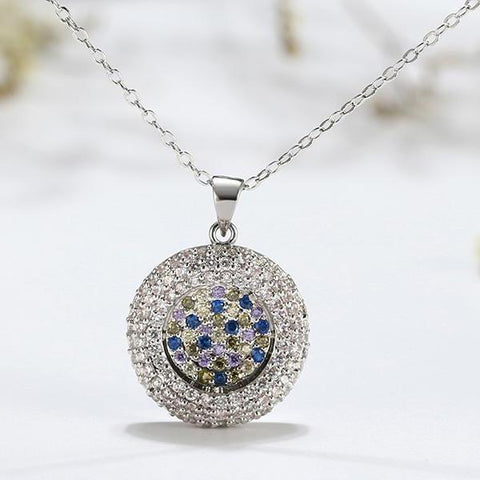 Full Pave AAA CZ Round Pendants Chain Link Necklace - necklace - LoxLux Jewelry
