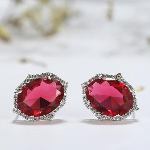 Big AAA Clear Red Oval Zircon Crystal Earrings - Earrings - LoxLux Jewelry