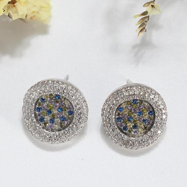 20 MM AAA Full Pave Colorful CZ Round Shape Stud Earrings - Earrings - LoxLux Jewelry