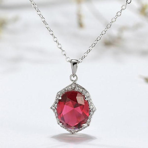 Big Red AAA CZ Crystal Oval Pendants Chain Link Necklace - necklace - LoxLux Jewelry