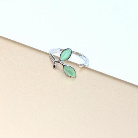 925 Sterling Silver Leaf Pattern Adjustable Ring - Ring - LoxLux Jewelry