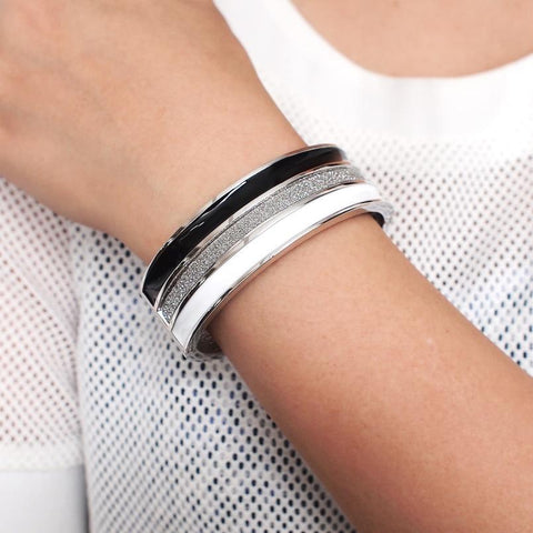 Punk Black mix White Oil-spot glaze Big Cuff Bracelets