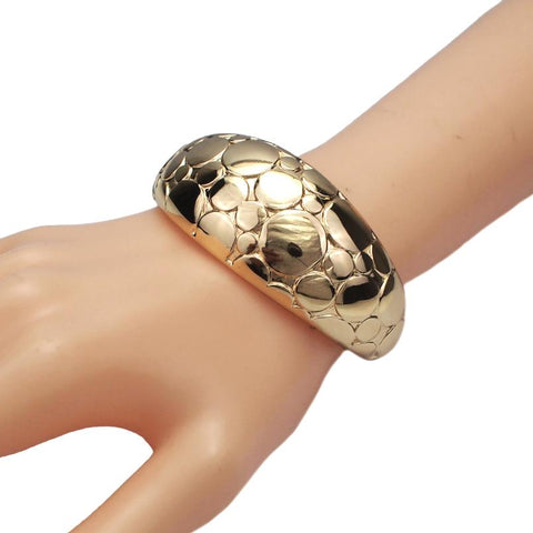 Big Alloy Rough Surface Cuff Bracelet - BRACELET - LoxLux Jewelry