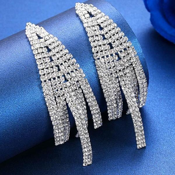 Rhinestone Crystal Big Long Tassel Drop Earrings - Earrings - LoxLux Jewelry