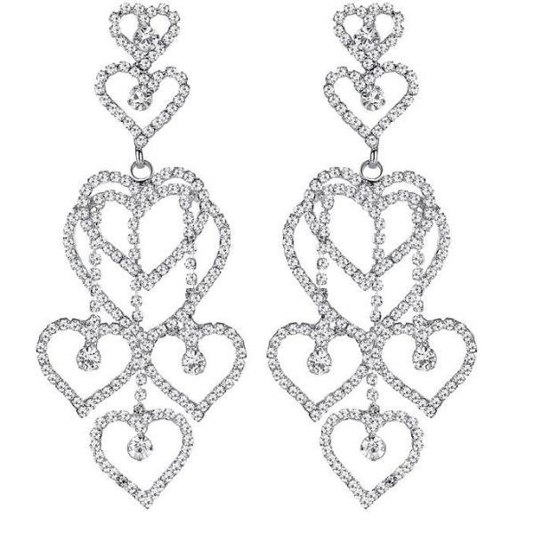 Long Chandelier Heart Shape Big Dangle Crystal Earrings