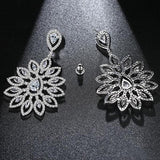 AAA Clear Cubic Zirconia Flower Shape Dangle Drop Earrings - Earrings - LoxLux Jewelry