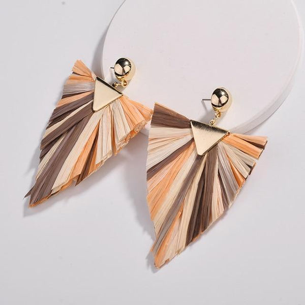 Big Triangle Shape Raffia Drop Earrings - Earrings - LoxLux Jewelry