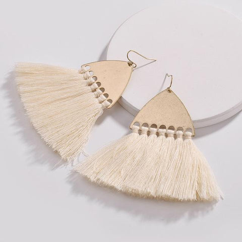 Long Fan Fringe Black Tassel Necklace and Earrings Set