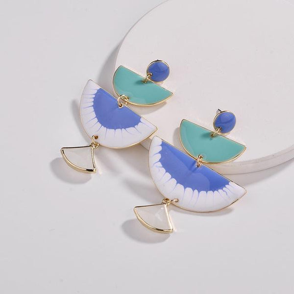 Blue Enamel Semicircle Shape Dangle Drop Earrings - Earrings - LoxLux Jewelry