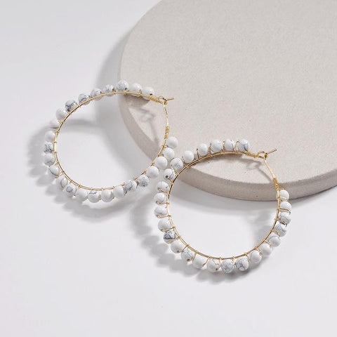 Gold Wire Weave Natural Stone Hoop Earrings - Earrings - LoxLux Jewelry