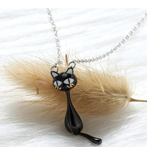 925 Sterling Silver Hanging Black Cat Addict Tail Pendant Necklace - necklace - LoxLux Jewelry