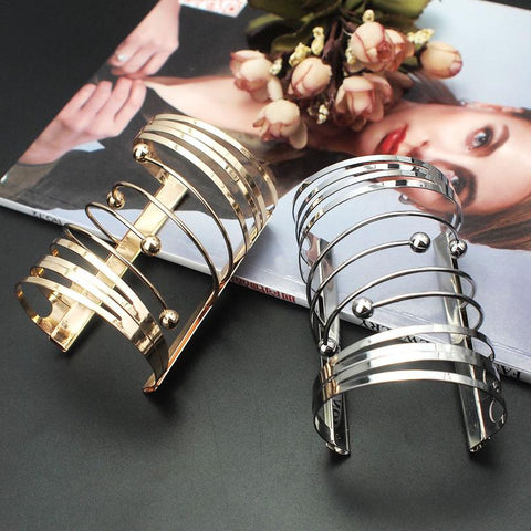 Big Gold And Silver Color Wide Alloy Statement Cuff Bracelet - BRACELET - LoxLux Jewelry