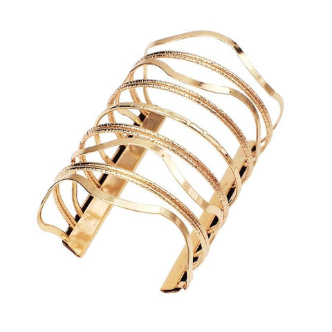 Gold And Silver Color Wave Pattern Big Alloy Metal Cuff Bracelet - BRACELET - LoxLux Jewelry