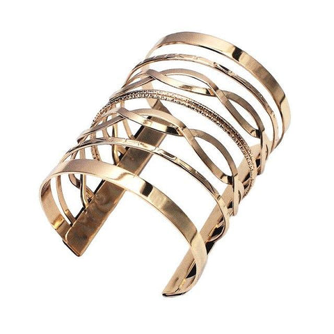 Long Alloy Wide Wrap Metal Cuff Bracelet