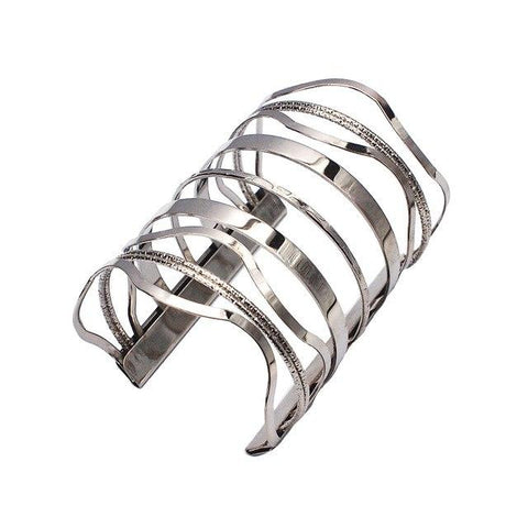 Silver Color Unique Design Big Alloy Punk Cuff Bracelet