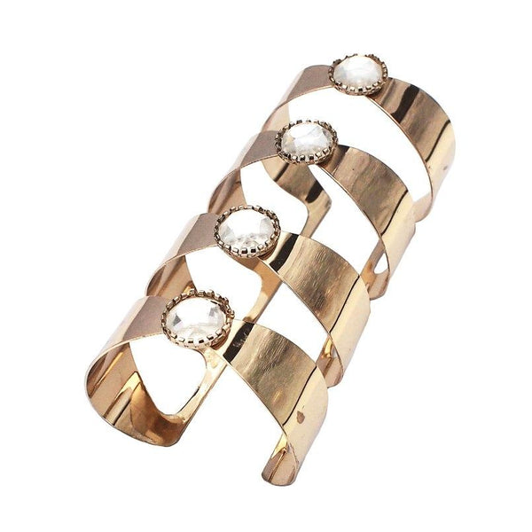 Unique Wide Big Crystal Alloy Cuff Bracelet
