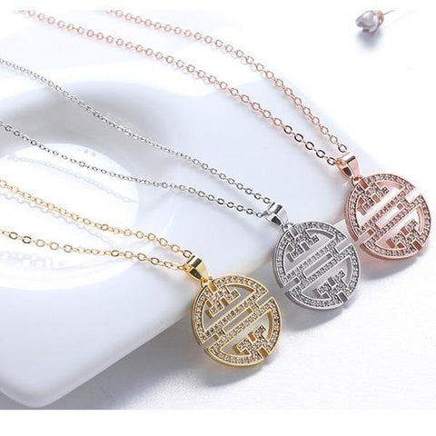 AAA CZ Hollowed Pendant  Window Pattern Necklace - necklace - LoxLux Jewelry