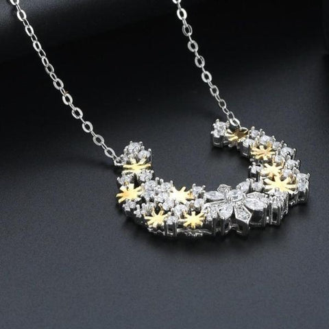 Gold And Silver Color Snowflake Pattern Pendant Necklace - necklace - LoxLux Jewelry