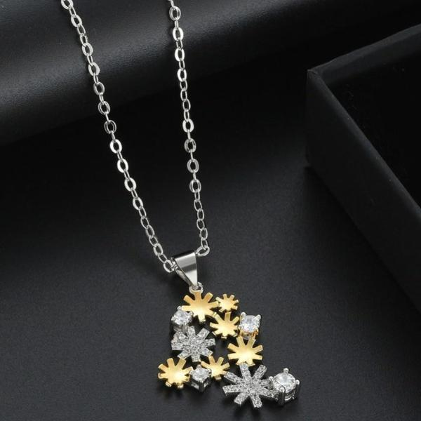 AAA Dazzling CZ Gold And Silver Color Snowflake Pendant Necklace - necklace - LoxLux Jewelry
