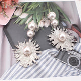 Big Flower Imitation Pearl Dangle Drop Earrings - Earrings - LoxLux Jewelry